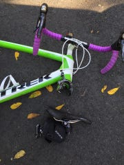 Some of the pieces of Chad Campbell's bicycle after