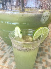 Cucumber-lime water with chia seeds at Fresko Pops