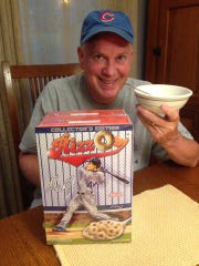 Mike Wellman hopes to crack open this box of Rizzo's cereal after a World Series championship.