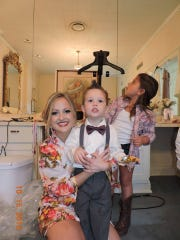 Bride Alanea Watson with ring bearer Callum Bilow and