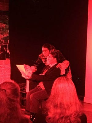 """Dracula (Alethea Maldonado) and Harker (Becky Behl-Hill) interact in a scene from """"All Girl Dracula,"""" being performed this weekend at the Derek Gores Gallery in Melbourne."""