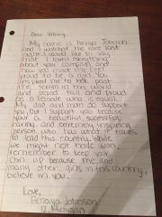 This is the letter Amaya Johson was to mail today,
