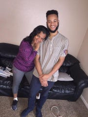 Carl Conyers, 21, is pictured here with his mother,