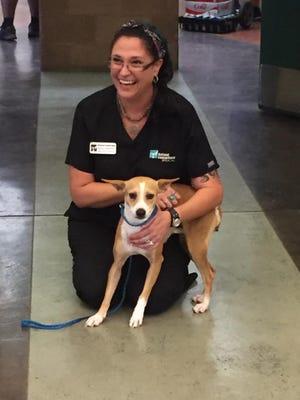 Michelle Bergeron of Animal Samaritans and TenKay, the 10,000th  rescue for Animal Samaritans.