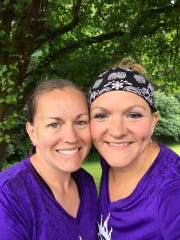 Kristen Meeker of Sublimity, left, and Amanda Monninger of Stayton each lost scores of pounds via a Where to Start Fitness personal-training program, ultimately encouraging each other as they aimed and achieved running and finishing the Boring Marathon.