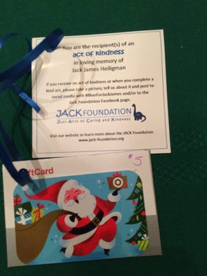 Each gift card delivery included an information card describing the JACK Foundation, and encouraging recipients to pay the kindness forward.