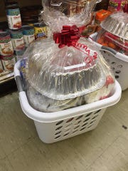 Floyd's Supermarket wrapped each gift basket they made.