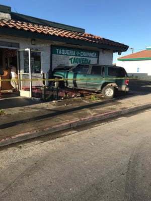 A car crashed into a taqueria on Williams Road Wednesday.