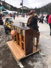 The piano man plays a little serenade before his jump.