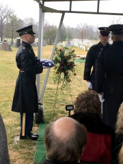 A flag is folded Tuesday at Arlington National Cemetery in Virginia during the funeral of North Naples veteran Steven Meholick. Meholick, 91, received three Bronze Stars and a Purple Heart during his service in World War II as a paratrooper for the 101st Airborne Division.