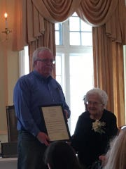 Julia Hilinski, who turned 100 on Monday, was presented a proclamation by Woodbridge Mayor John E. McCormac at her birthday celebration on Saturday.