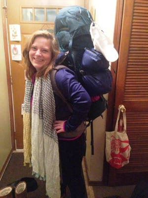 Caitlin Hunter pictured with her backpack.