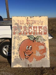 Beloved Times Record News columnist, the late Joe Brown, ran a peach orchard in Thornberry, Texas. His son, Michael Brown, heard that the famed sign was still on the property, so he took a nostalgic drive back in time to retrieve it.