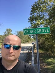 "J. Ryan Green is pictured visiting Cedar Grove, Indiana, during one of four trips he took to the region as he investigated the 2011 death of Katelyn Markham. The 21-year-old's remains were found in 2013. Green is launching a podcast about his investigation called ""Gone at 21."""