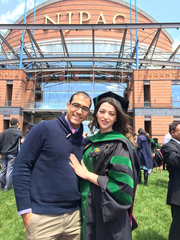 Jose Medina with his wife, Ellina Hattar-Medina, at her graduation from New Jersey Medical School in 2016.