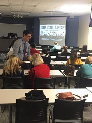 Ward Roberts, director of innovation and advanced academics, talks to parents in January 2017 about the Wichita Falls ISD's Go! College initiative, in which the district's students will be able to take classes at Vernon College. Students could earn up to 42 hours of college credit before graduating from high school for a potential savings of about $35,000 for families.