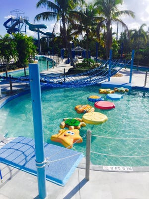 The new Sailfish Splash attraction features a 3.5-foot-deep pool with marine animal floatables and an overhead cargo net.