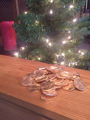 Gold coins donated by an anonymous donor helped the Salvation Army reach its Red Kettle campaign goal in 2016.