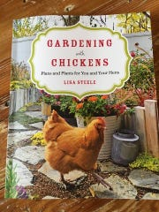 The book encourages vegetable growers to consider keeping chickens in the garden.