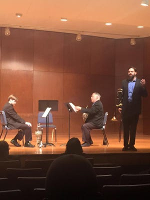 """The Del Mar Faculty Brass Trio will perform """"Merci M. Poulenc"""" by Carleton Macy as part of its recital at 7:30 p.m. Friday in Wolfe Recital Hall. Macy won the symposium's composition competition, beating more than 50 other submissions."""