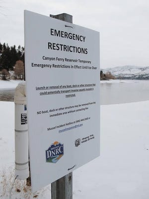 Signs went up warning boaters have tests showed that invasive mussel larvae might be present in Canyon Ferry.