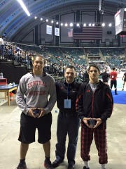 Hunterdon Central coach Jon Cantagallo-Rohm with Victor Lacombe (to the left) and Hunter Graf at the 2016 state tournament.