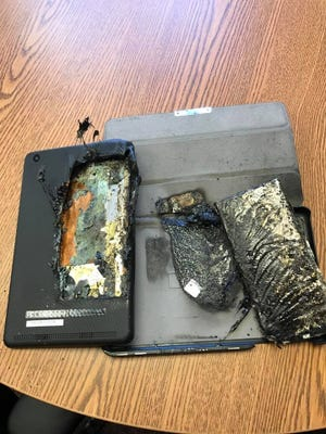An E-reader spontaneously combusted on March 14 at Robert Elementary School. No one was injured and it was not in use at the time. Fond du Lac Fire Chief Pete O'Leary urges caution when using devices that contain lithium-ion batteries.
