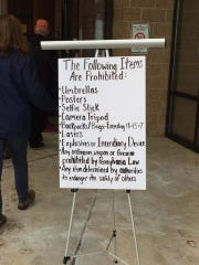 A sign at U.S. Rep. Scott Perry's town hall meeting March 18 at Red Lion Middle School listed prohibited items.