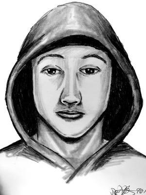 Sketch of Glassboro bank robbery suspect.