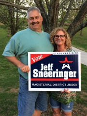 Penn Township Police Detective Jeff Sneeringer, seen here with wife Donna, is running to be the next district judge for West Manheim and Penn townships. (Photo courtesy of Facebook)
