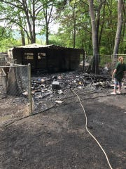Three buildings were destroyed in a fire at Mountainside Pet Rescue early the morning on Thursday, May 18, 2017.