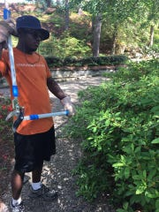 A student trims azalea bushes at Hodges Gardens State