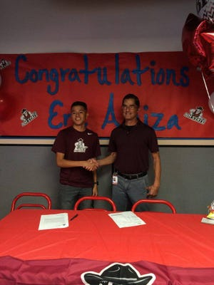 Socorro High's Eric Araiza, left, will attend New Mexico State to run cross country and track and field.