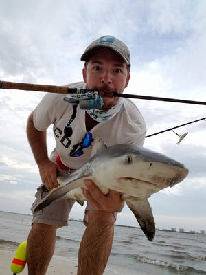 Shark week isn't only once a year on the Treasure and Space coasts. Justin Cook, of Port St. Lucie, caught and released this juvenile bull shark while fishing in the Indian River Lagoon with a Live Target Mullet.