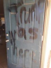 "Someone spray-painted ""Trump was here"" on Tishonda"