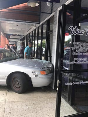 A car crashed into a building on Main Street in Ventura on Thursday morning.