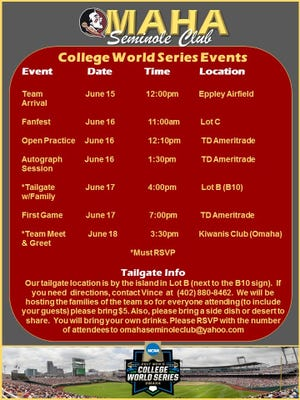 The Omaha Seminole Club has a number of events planned for FSU fans attending the CWS.