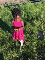 Amara Ochsner picks flowers to bring home to Mom at Eagles Crossing Park.