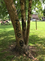 Trees, playground equipment, benches and sidewalks all were victimized by vandalism in Tilton Park over the weekend.