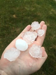 Large hail swept over Clive and other western suburbs on Wednesday.