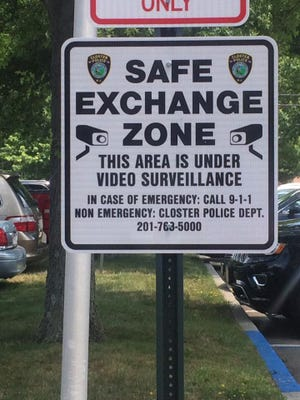 A Safe Exchange Zone sign that was placed on the parking lot of the Closter Police Department on June 28.