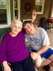 In 2015, Doug Griffin and his mom, Michelle, goof around at her home in Franklin, where she moved two years earlier after her second husband died