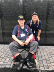Jack Green, left, was escorted by volunteer Tommy Owen to see Washington D.C.'s WWII memorials July 4 and 5, 2017.