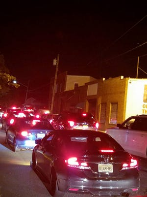 Traffic on Perth Amboy streets leading to the Outerbridge Crossing.