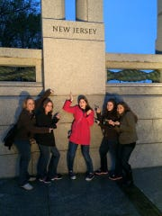 Members of the 2015 4-H Youth Leadership Team, including longtime Miiddlesex County 4-H member Julianna Ezzo of South Brunswick, at the World War II Memorial in Washington, D.C., under their state pillars.