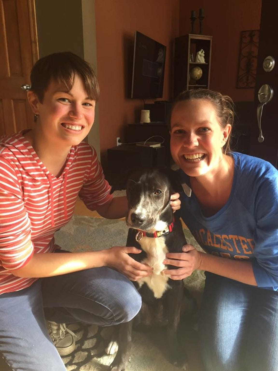 Christine Popp (left) and Beth Decker with their dog