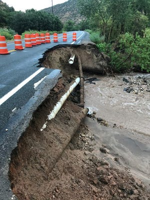 Heavy rains destroyed a portion of SR-143 in Parowan Canyon.