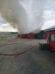 BVFC along with surrounding companies responded this morning to Airport Road for a Barn Fire.