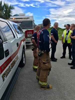 Emergency officials in St. Lucie County respond to an unearthed ordnance Thursday, Aug. 10, 2017.