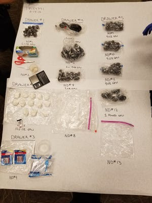 Redding police supplied this photo of some of the evidence seized when they raided higher-level dealers Thursday morning.